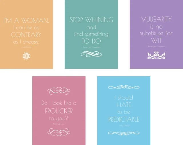 Get free Downton Abbey quote printables and all the details on how to throw an elegant Downton Abbey tea party!