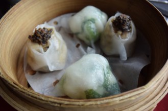 Truffle and mushroom dumpling & Chinese spinach with Okinawa star grouper dumpling.