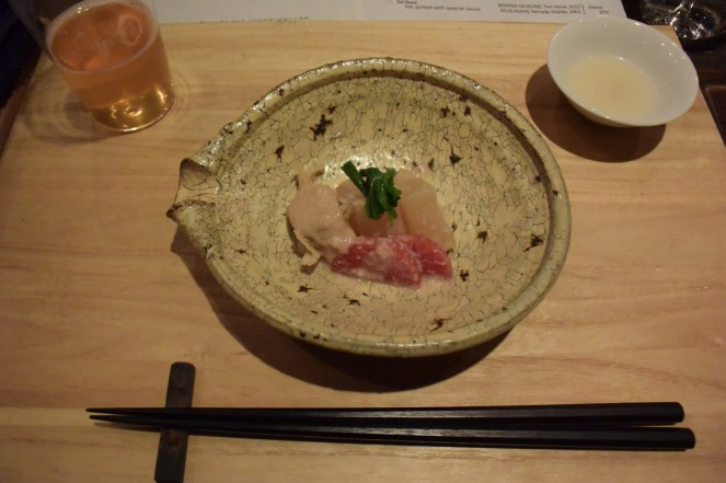 Appetizer- clam & daikon stewed with sake kasu