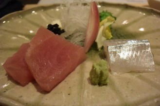 Sashimi course- makajiki (broadbill swordfish) and sayori (halfbeak fish)