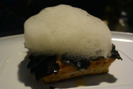 Meuniere Truffle Bread- toasted bread covered in truffles with a meuniere foam. Absolutely. Incredible.