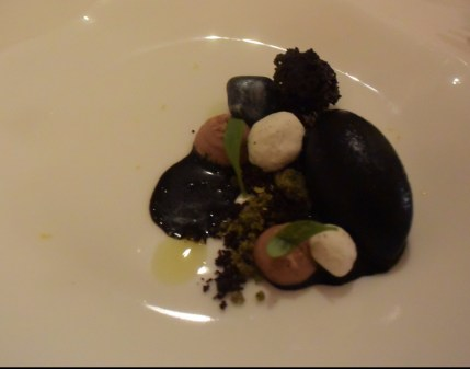 "Choco- chocolate and cuttlefish ink icecream (""tinta de choco""). Who knew that squid ink ice cream could be so divine!!"