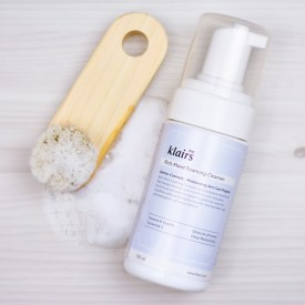 klairs rich moist foaming cleanser on a table