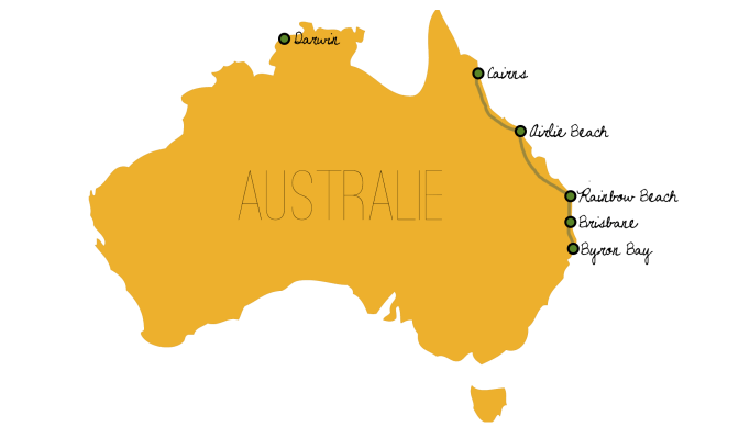 Australian Map - Cairns to Byron Bay
