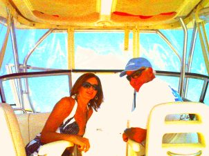 Mom and Dad on the boat
