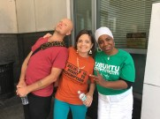 Old comrades pose for a pic - Andy, etta and Theresa.