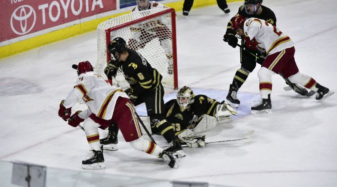 Pioneers withstand third period rally, ride Broncos out of Denver with overtime sweep