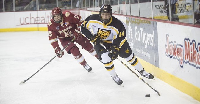Pioneers shut out Tigers to win NCHC game-in-hand and earn Gold Pan inside track