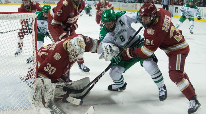 Denver battles 1-1 tie with North Dakota in playoff atmosphere