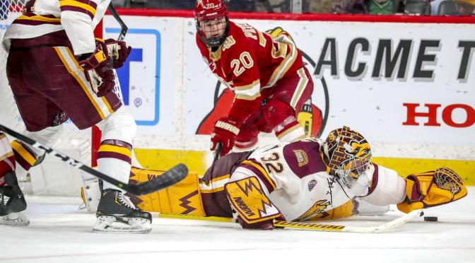 Pioneers blow two-goal lead, hold on for win in shootout at Minnesota Duluth