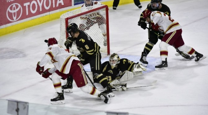 McKade Webster's Shootout Heroics Give Pioneers Extra Point in 3-3 Tie with Western Michigan