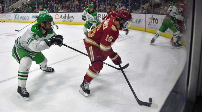 Lackluster Pioneers Shut Out by #2 Fighting Hawks in Grand Forks