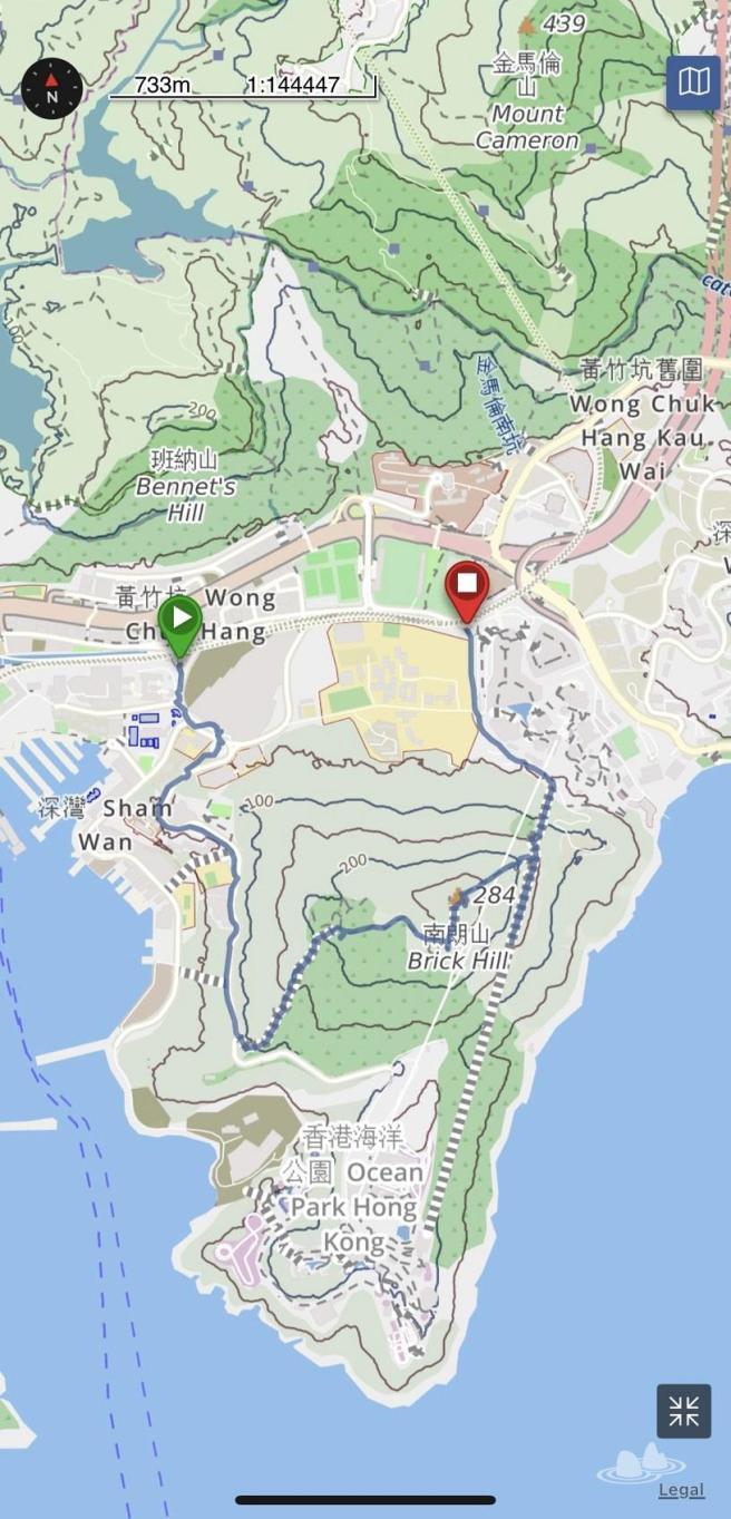 港鐵黃竹坑站>南朗山道>南朗山>海洋公園纜車救援徑>海洋公園道>港鐵海洋公園站