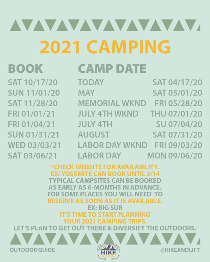 camping 2021 dates