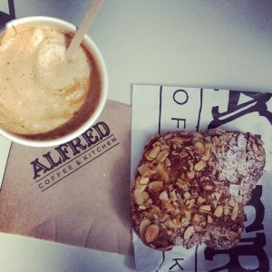 Cappuccino & Almond Croissant @Alfred Coffee in Melrose