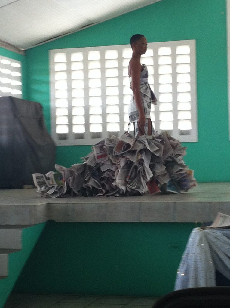 One of Kern's pieces made of newspapers