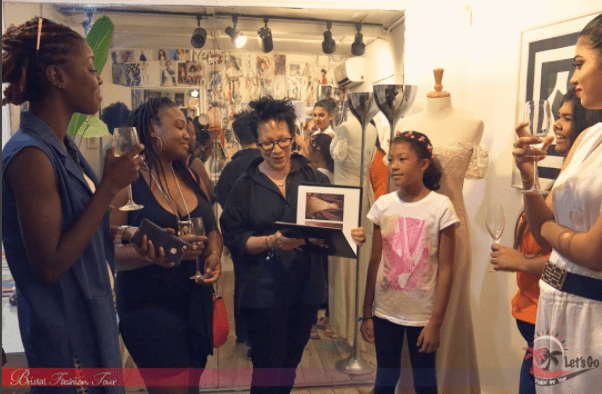Meiling Esau showing the group some of her bridal work and discussing her bridal process.