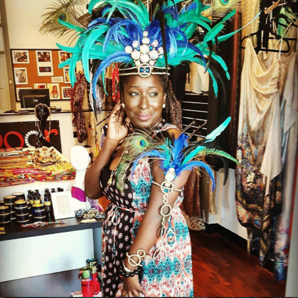 Nakita Henry trying on Noor Agha's Carnival Costume for Passion Carnival