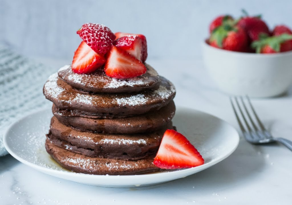 Whole Wheat Cacao Chocolate Pancakes by Ginny Williams