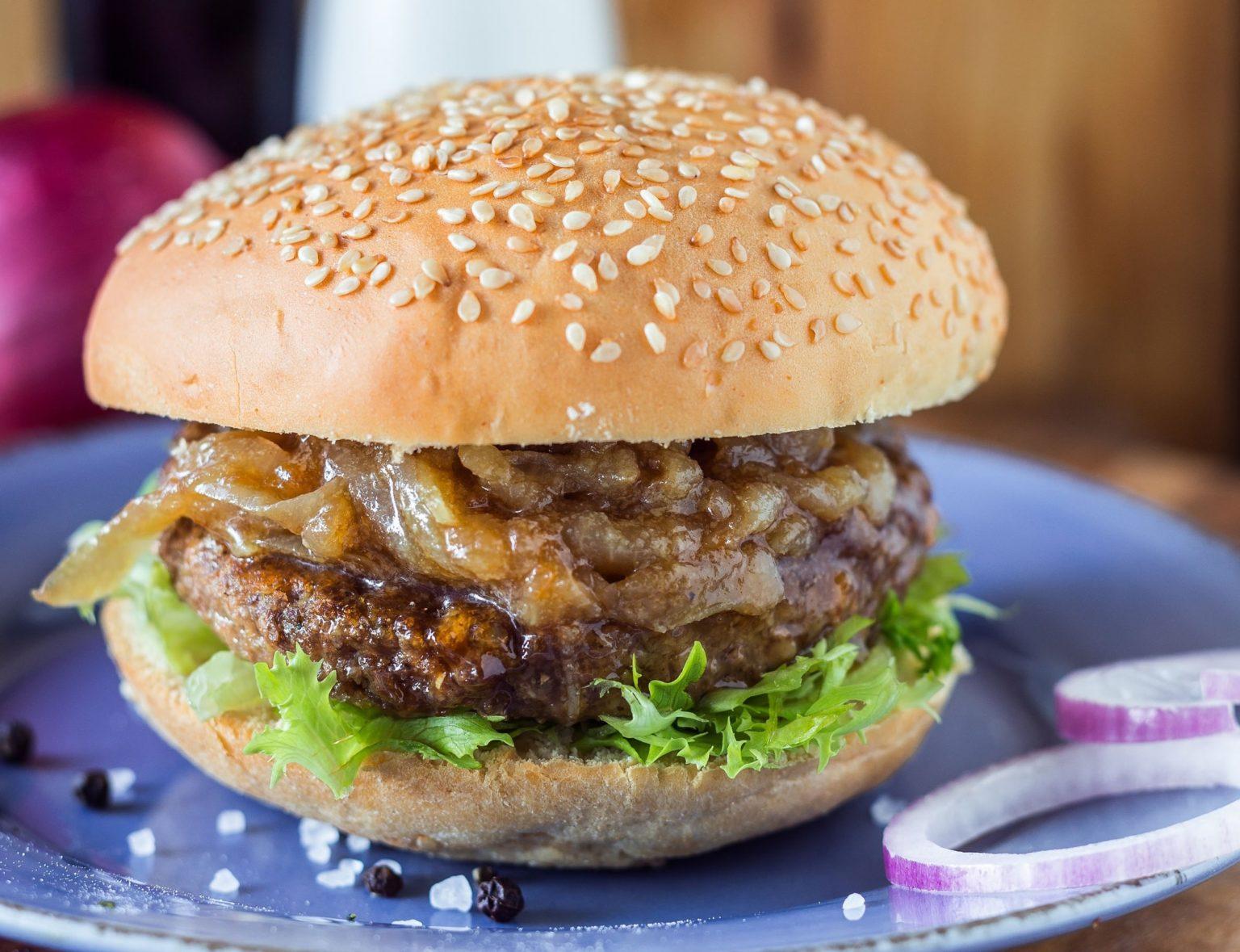 Balsamic Caramelised Onion Burgers