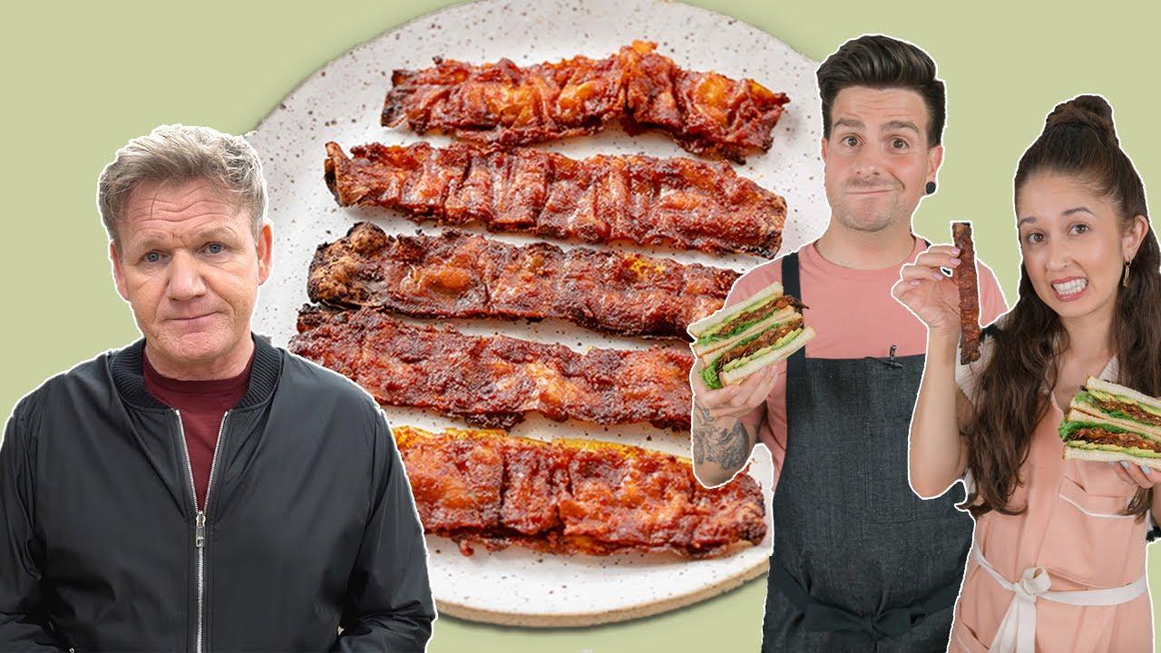 5 vegan influencers try Gordon Ramseys Vegan Bacon Recipe