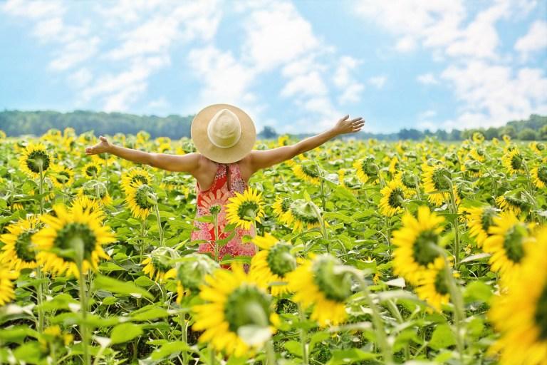 girl dancing in sunflowers