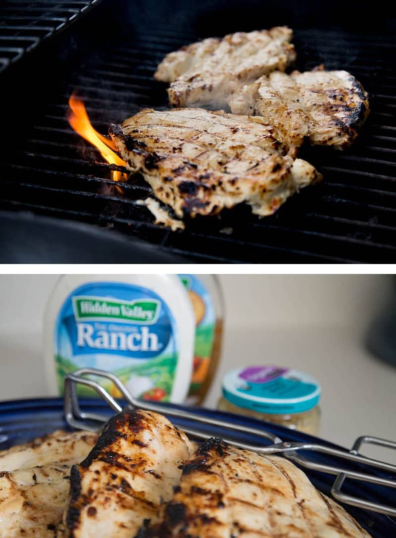 Garlic Ranch Grilled Chicken *This marinade recipe is SO SIMPLE. Love that you can use the leftovers in so many different ways. Great for meal planning.