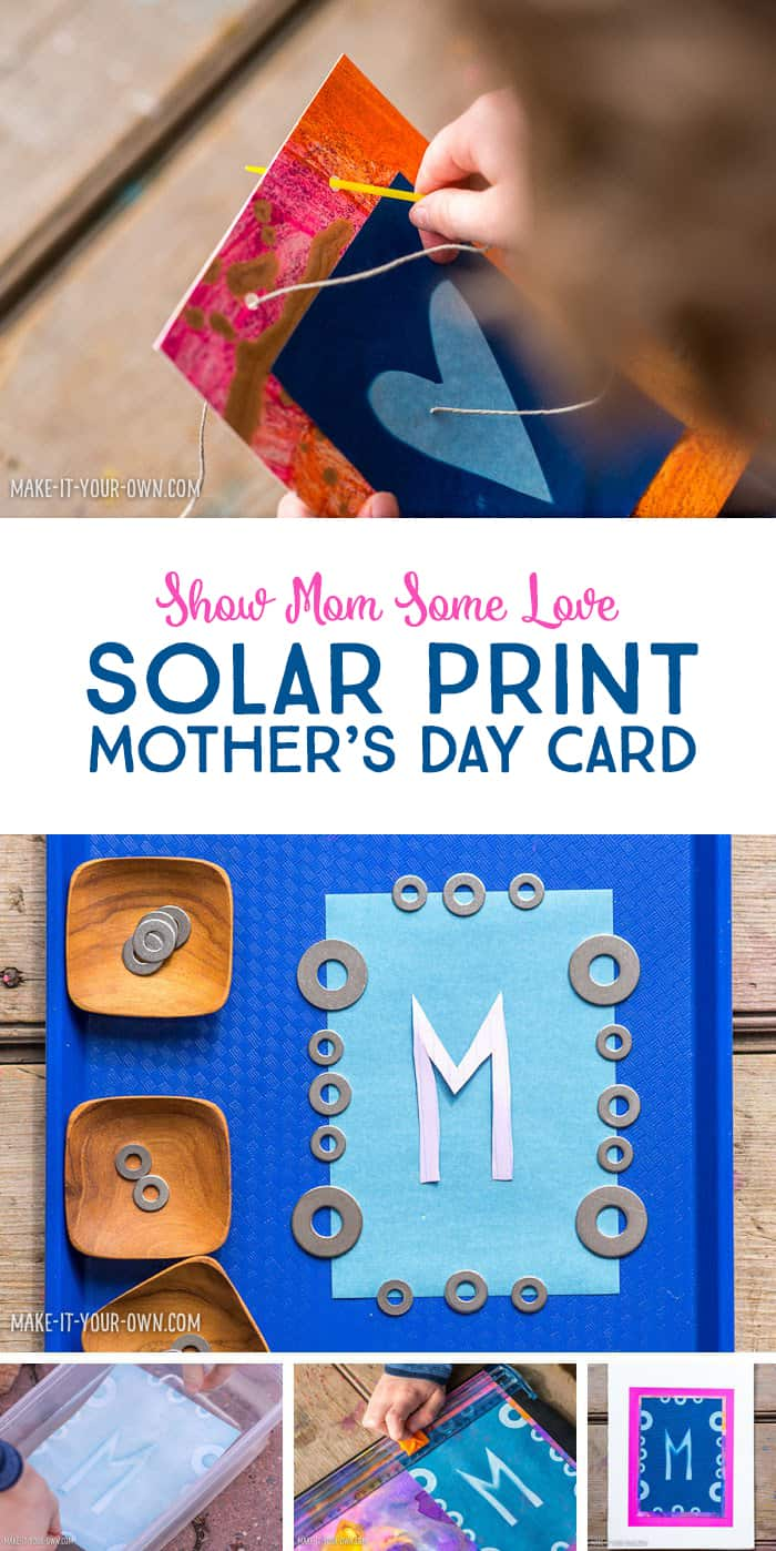 Solar Print Art for Children: Make a Handmade Mother's Day Card *This educational DIY kids' craft is so sweet! Love the colors in the final piece.