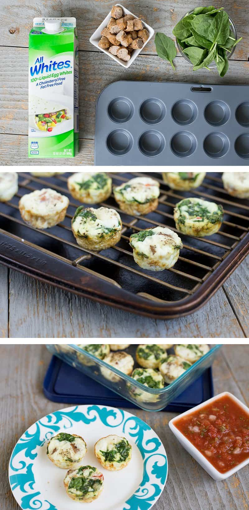 This Sausage & Spinach Egg White Muffin Bites recipe is packed full of protein, gluten-free, paleo-friendly and is a quick on-the-go breakfast snack. You can make one batch to last a full week. *Insanely easy way to start your day with eggs