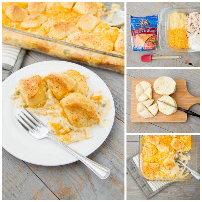 This cheddar ranch-chicken bubble-up casserole is SO GOOD. If you're pinched for time, keep this 30-minute cheesy chicken biscuit casserole simple with just 5 ingredients. This quick and easy chicken bake uses cream of chicken soup and sour cream, so it is amazingly creamy. You can also make it into a chicken pot pie casserole by adding canned carrots, peas and potatoes. *This is a keeper! My kids love it.