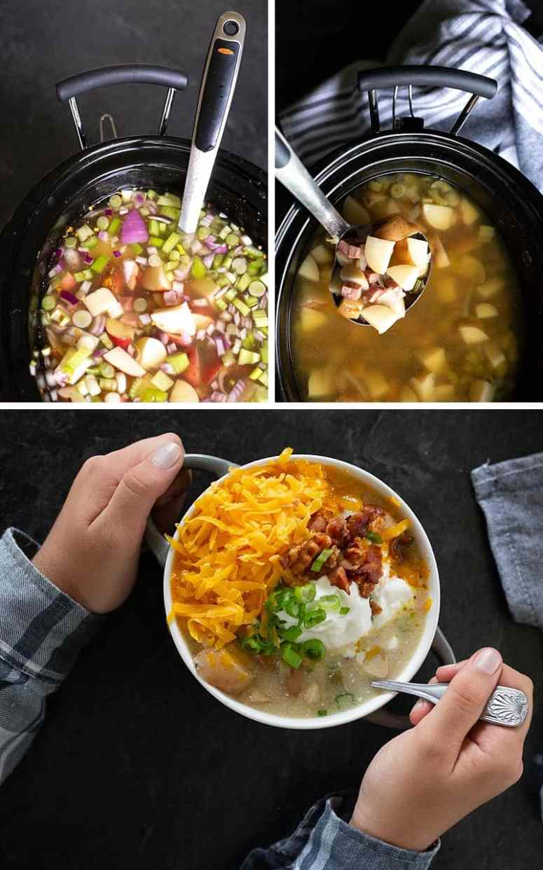ANYTIME you buy ingredients to make Crock-Pot Potato Soup or any slow cooker meal, be sure to pick up a fresh garnish. Take that monochromatic Crock-Pot meal (that is delicious!) to the next level with some green! #familykitchen #kidscooking #kidchef *Love this idea as well as ALL the loaded baked potato soup fixings!