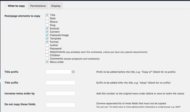 Configure Duplicate Post WordPress Plugin