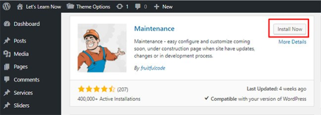 How to active maintenance mode in WordPress (1)