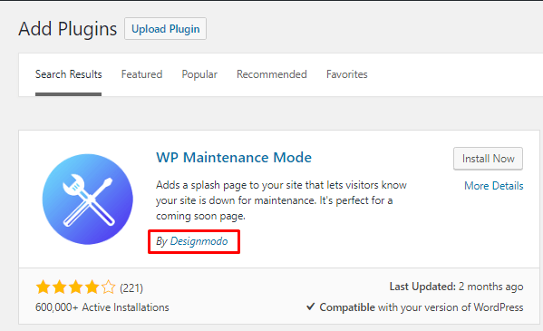 How to active maintenance mode in WordPress (2)
