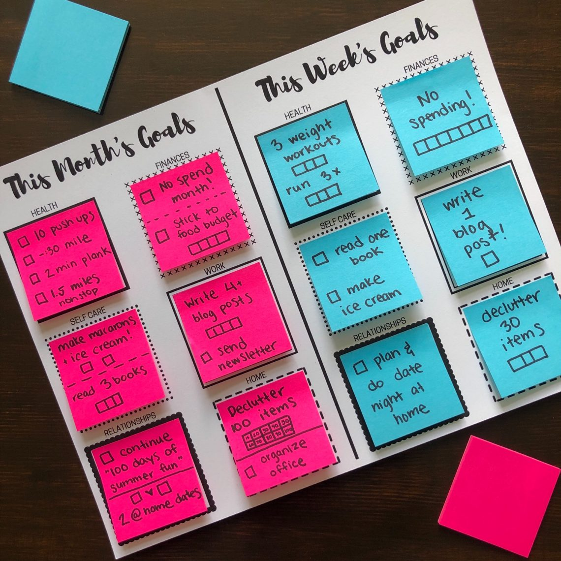 Sticky Note Goal Setting Printables Let S Live And Learn