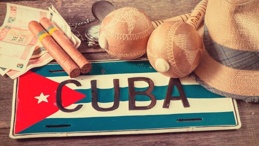 Travel to Cuba concept of holiday related items