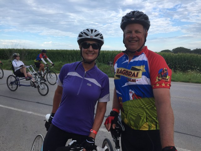 1977 Bettendorf High School grads  - Scott and Pam Dixon now live in Grand Rapids MI - never rode ragbrai before - but his mom rode it many times - the last time when she was 62 - deceased now and they are riding in her honor.
