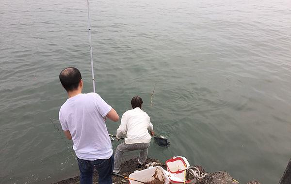 圖片說明:筆者目擊民眾正在淡水河邊撈起剛上鉤的魚