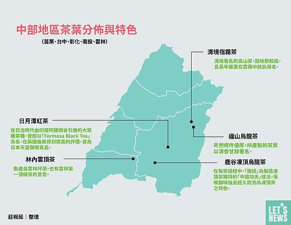 圖片說明/中部地區茶葉的分佈、特色與名稱由來。
