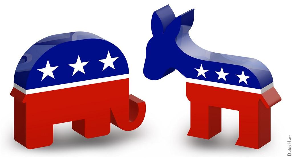圖片說明/美國兩黨象徵動物/黨徽- 驢(民主黨)聰明有勇氣的象徵;象(共和黨)代表尊嚴、力量及智能