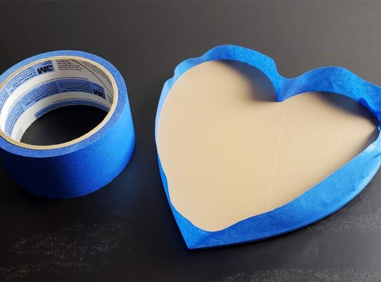 Masking a 3D Printed Heart for Flock