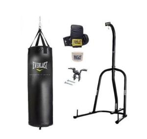 Everlast brand punching bag with stand and gloves and wrap