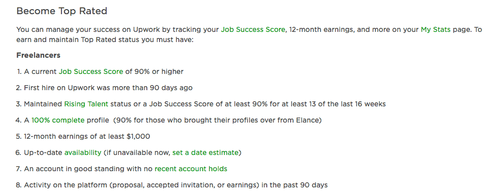 To actually become Top Rated, you'll need to know the exact requirements.
