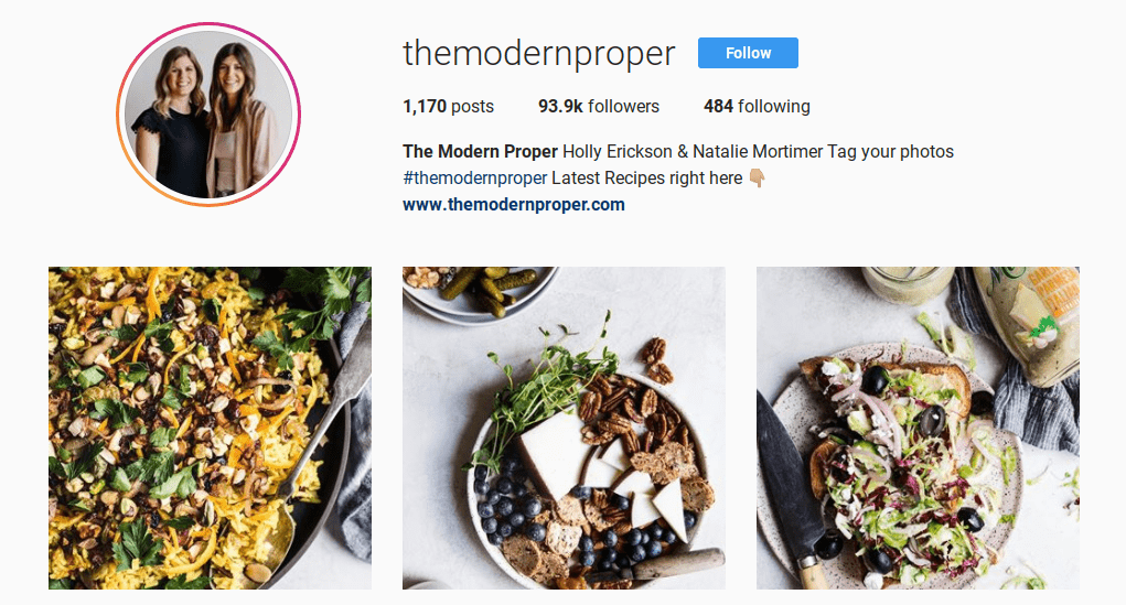 """the Instagram page of one of the top """"foodie"""" influencers, The Modern Proper:"""