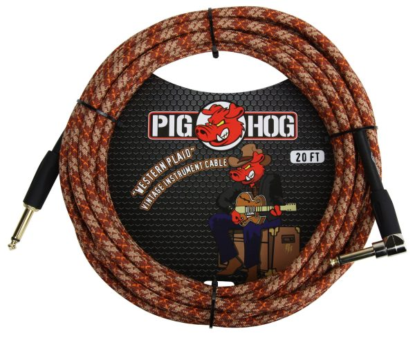 """Pig Hog 20ft x 8mm Vintage Series """"Western Plaid"""" Instrument Cable, 1/4"""" Right Angle Connector, 1/4"""" Right Angle Connector"""