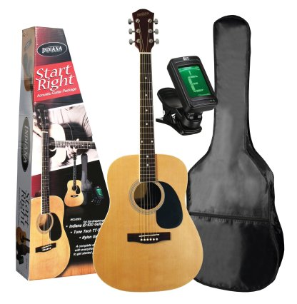 Indiana Dreadnought Satin Acoustic Guitar Starter Pack, ID-100