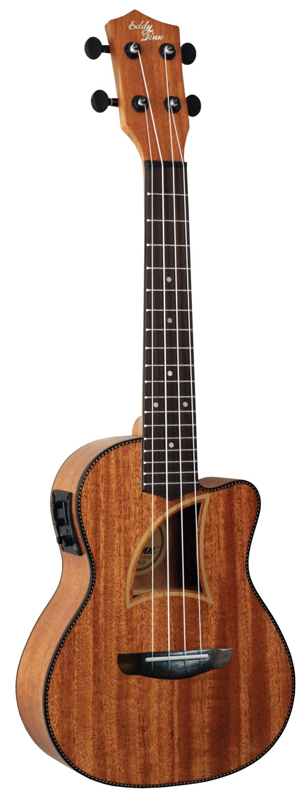 Eddy Finn® Herringbone Tropical Mahogany Concert Electric/Acoustic Ukulele