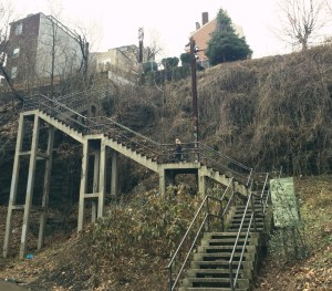 Running the 18th st steps in the southside, Pittsburgh before tacos