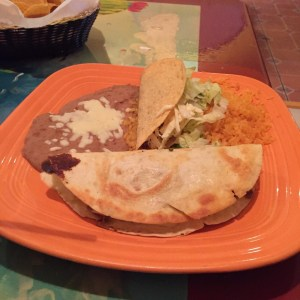 El Patron Taco combo with quesadilla