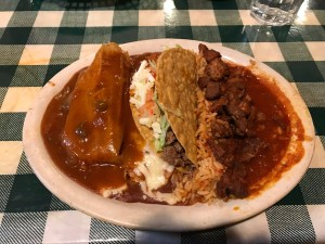Combination platter with taco at Old Mexico